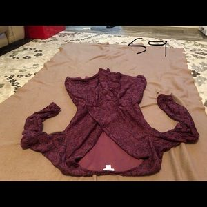 Xhileration maroon lace skirted romper lined S
